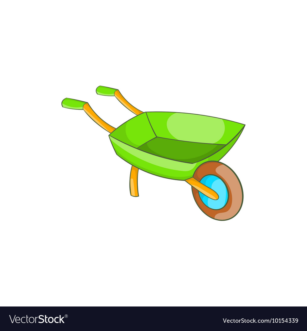 Green wheelbarrow icon in cartoon style vector image
