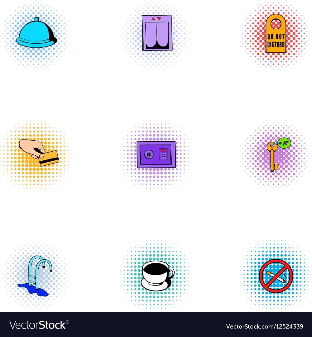 Hostel accommodation icons set pop-art style vector image