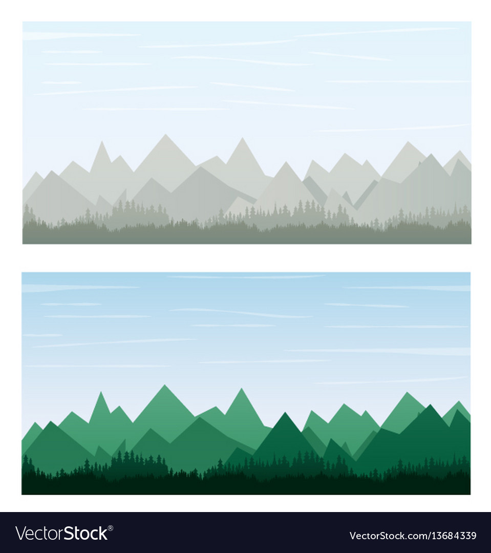 Mountain on gray and green color banner vector image