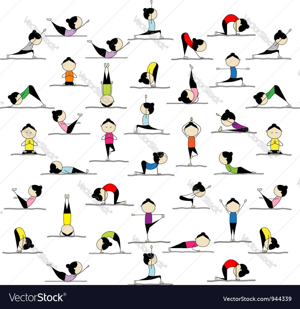 People practicing yoga 25 poses for your design vector image