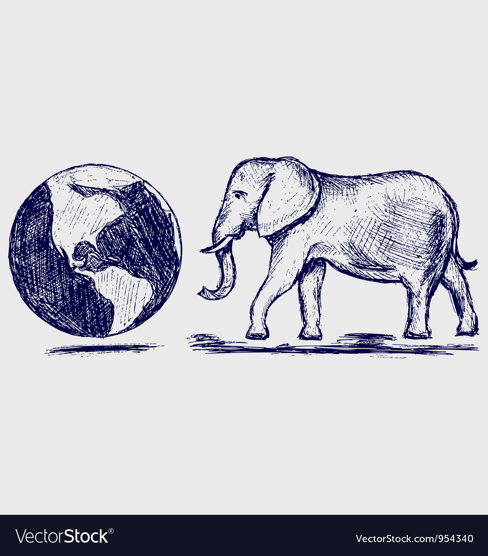 Elephant and planet Vector Image