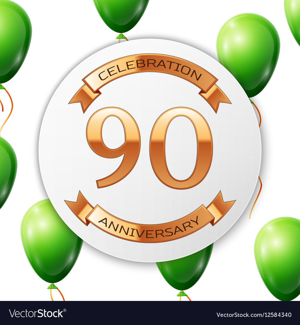 Golden number ninety years anniversary celebration vector image