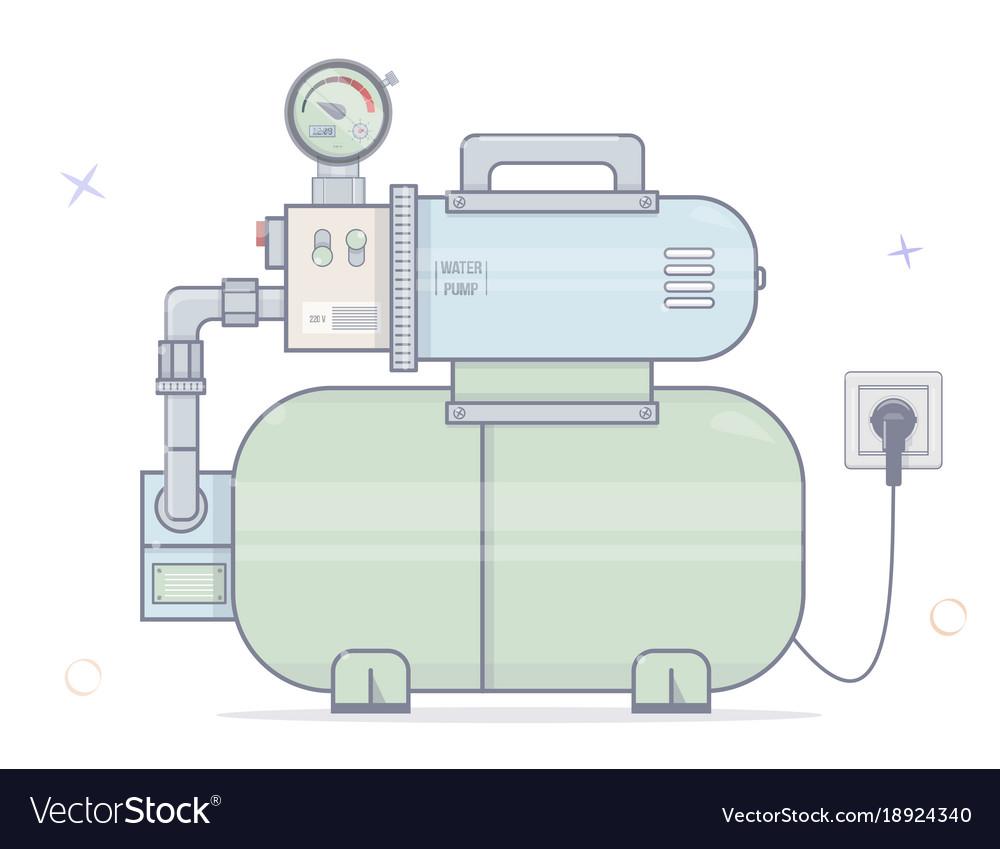 Water pump for online store of plumbing cartoon Vector Image