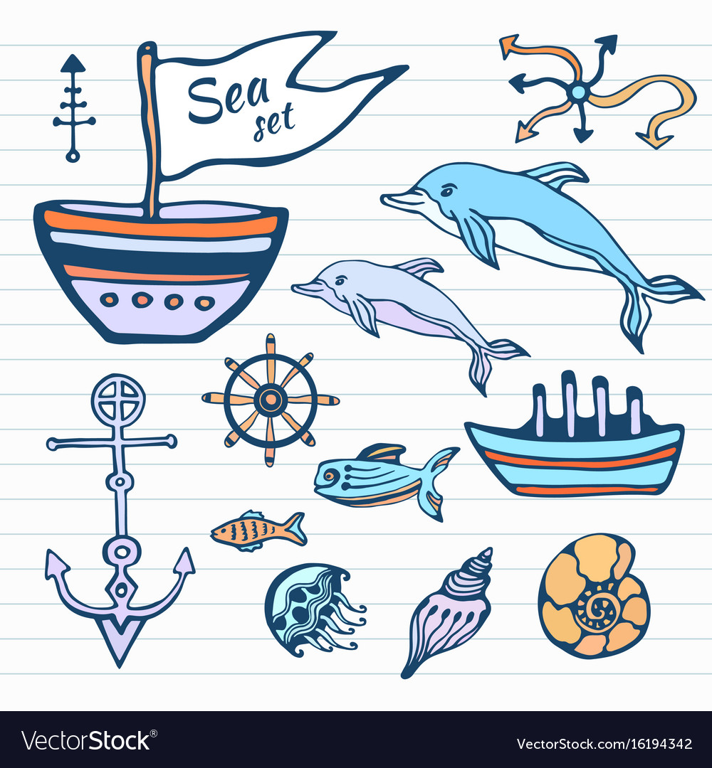 Sea life sketch hand drawn doodle set nautical vector image