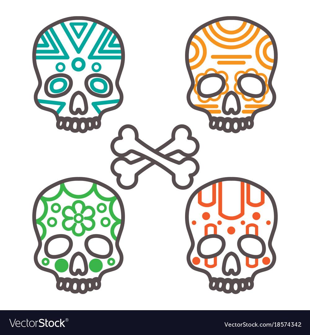 Set of four tribal skulls vector image