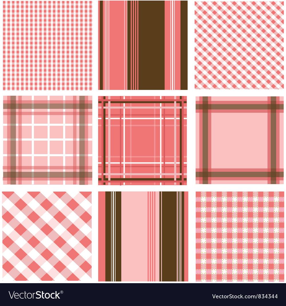 Set of plaid patterns vector image