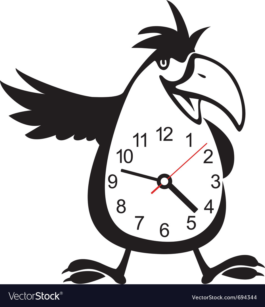 wall clock parrot sticker royalty free vector image wall clock parrot sticker vector image