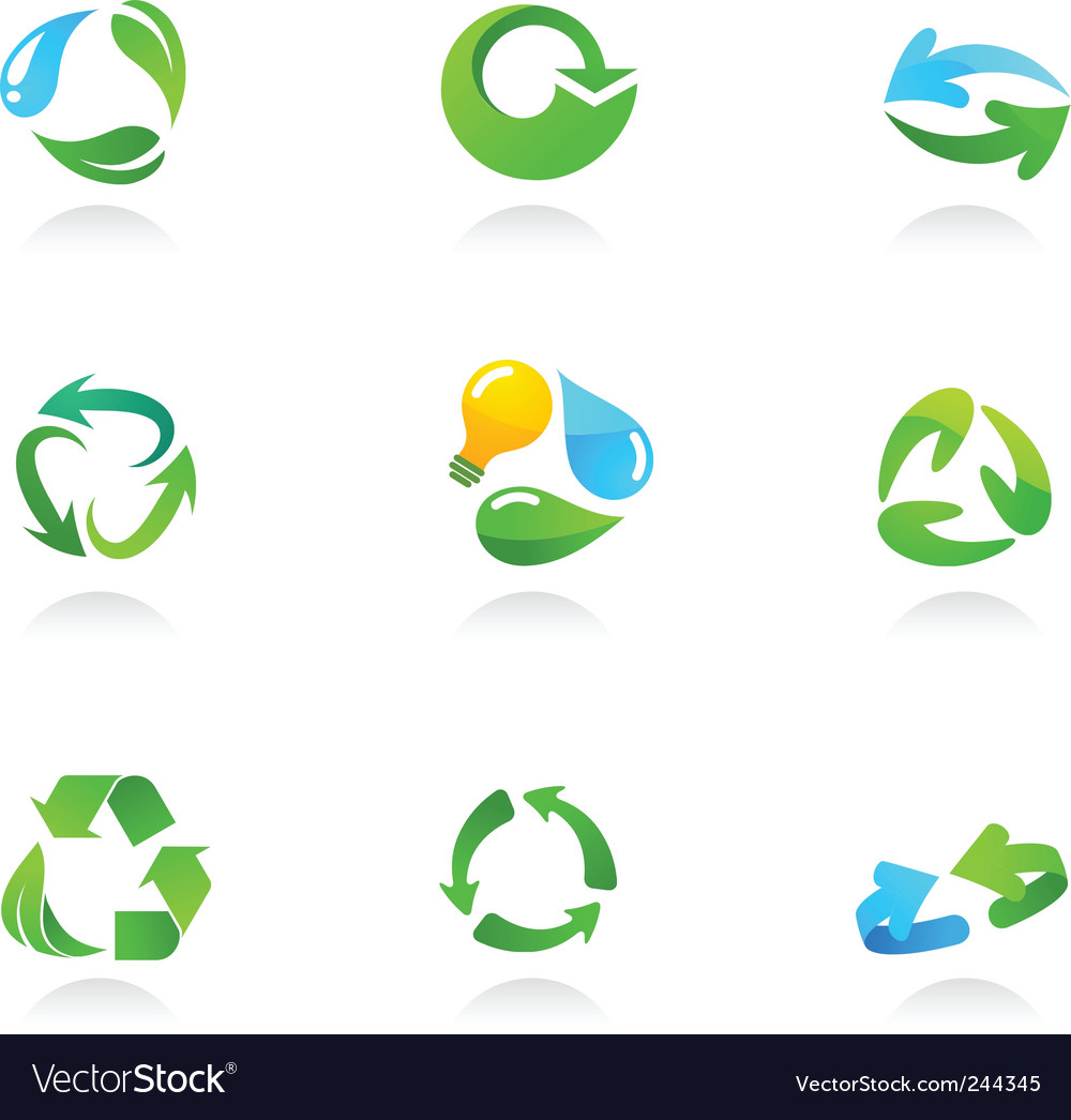 Nature logos 06 green leaves vector image