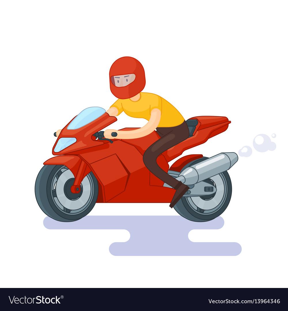 Flat red sport bike concept vector image