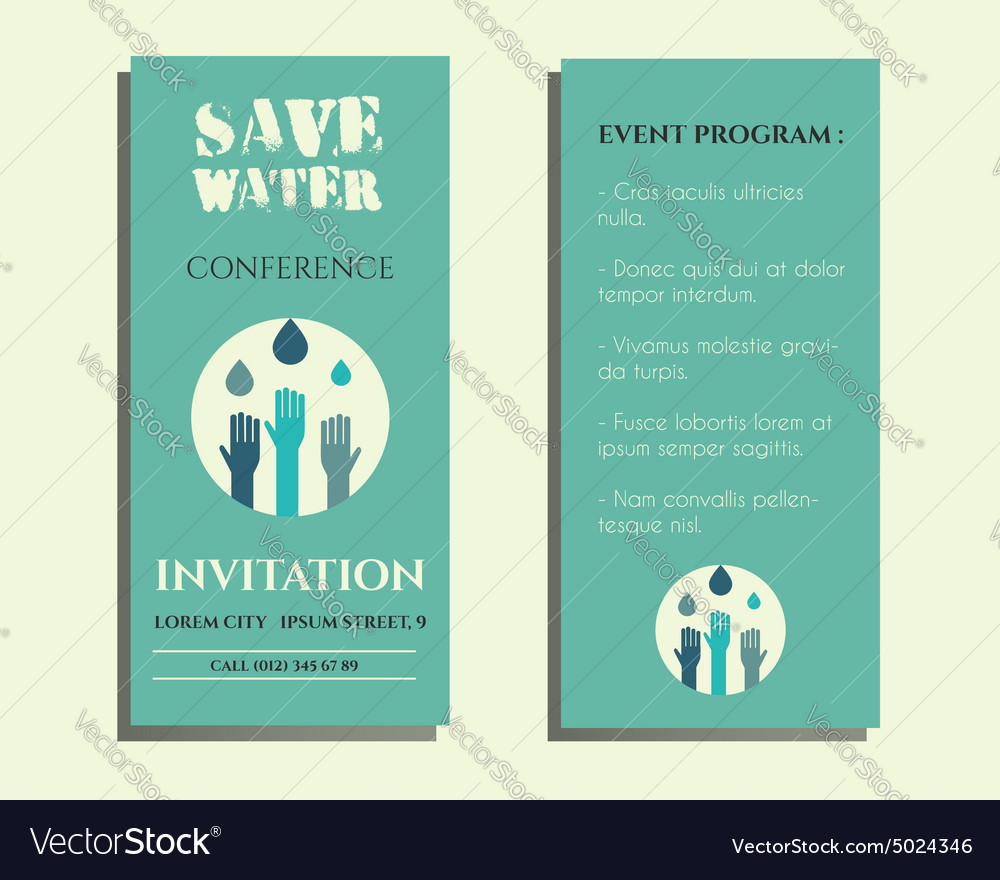 Save water conference flyer invitation template vector image stopboris Gallery