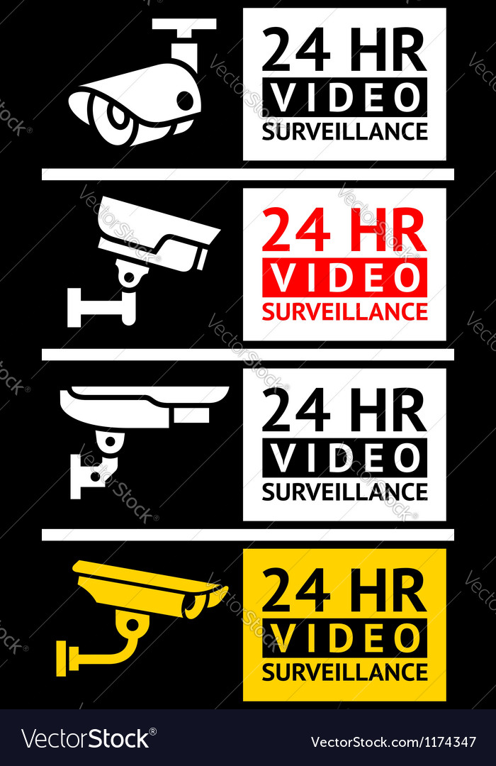 Video surveillance stickers set vector image