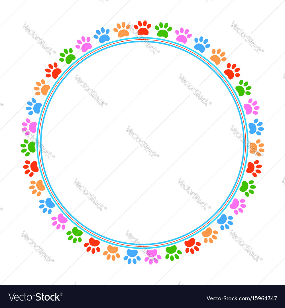 Colored paws frame vector image