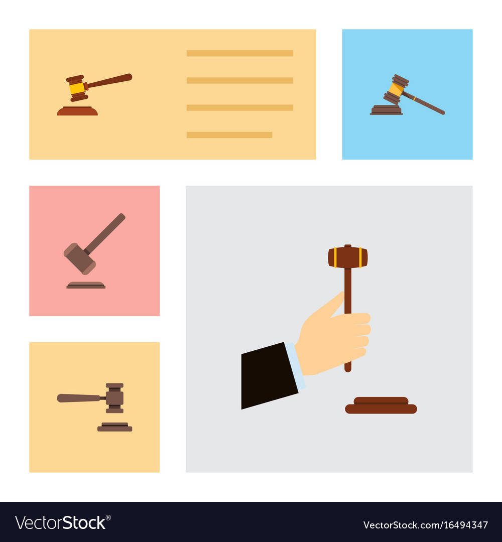 Flat icon court set of law hammer legal and vector image