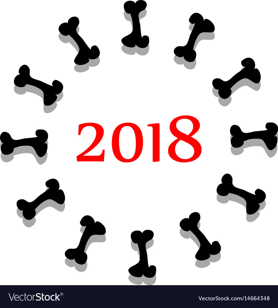 Abstract symbol 2018 year with bone vector image