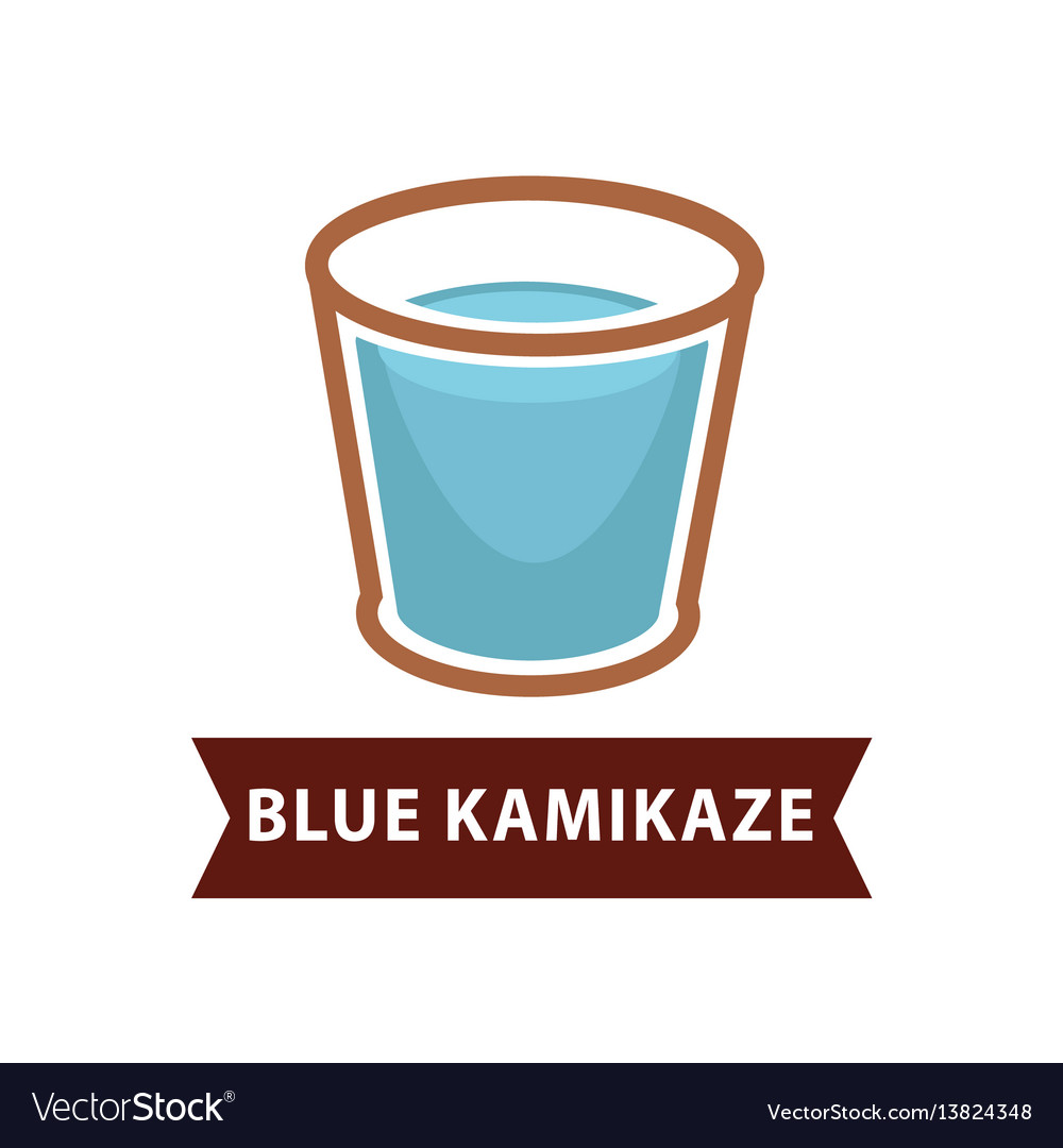 Blue kamikaze of long drinks in old fashion goblet vector image
