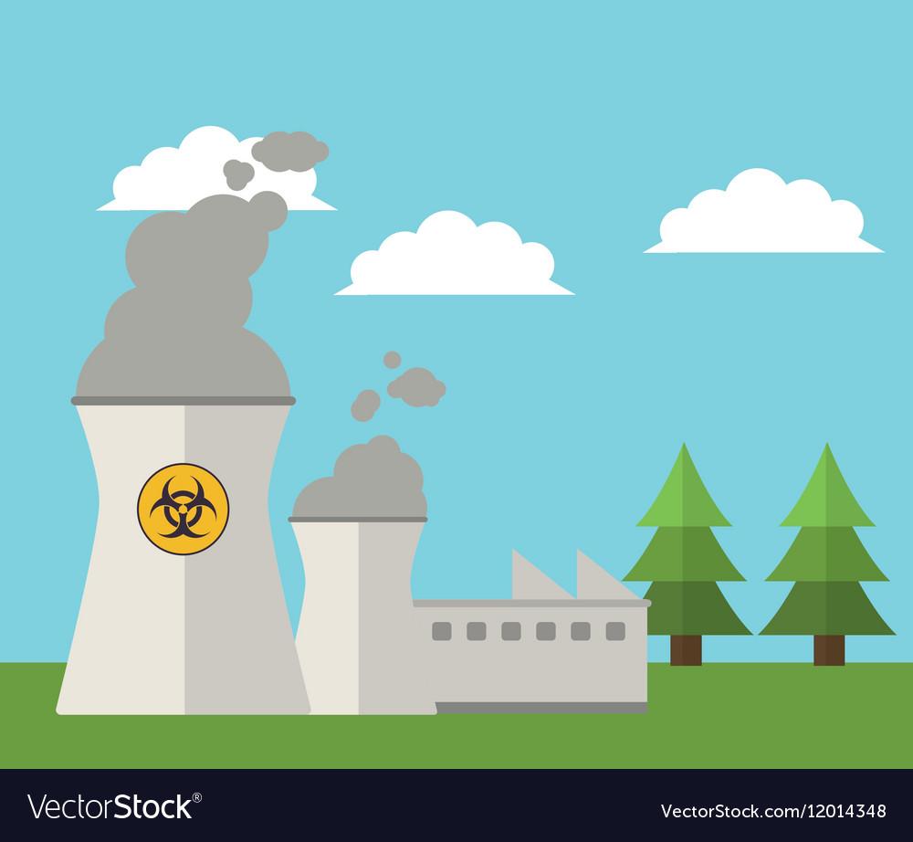 Nuclear plant energy power landscape vector image