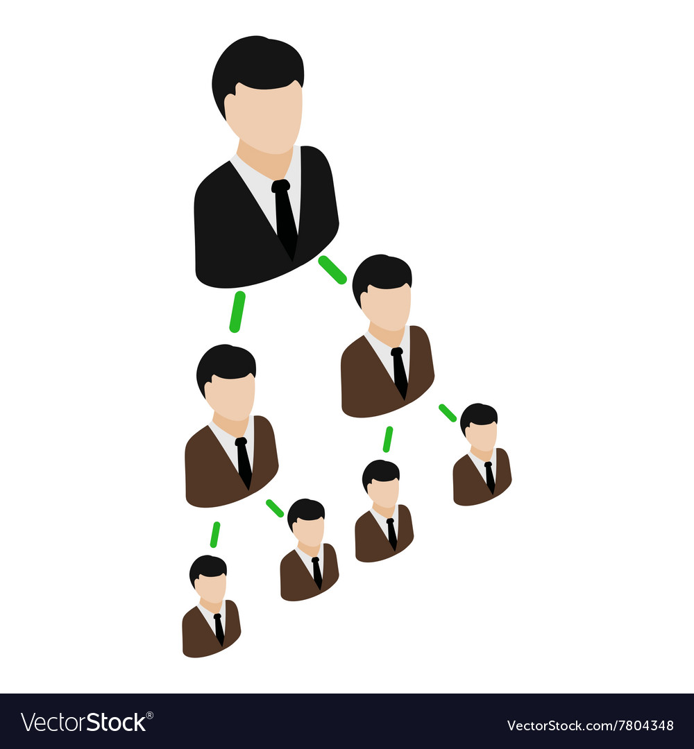 Office hierarchy pyramid icon isometric 3d style vector image