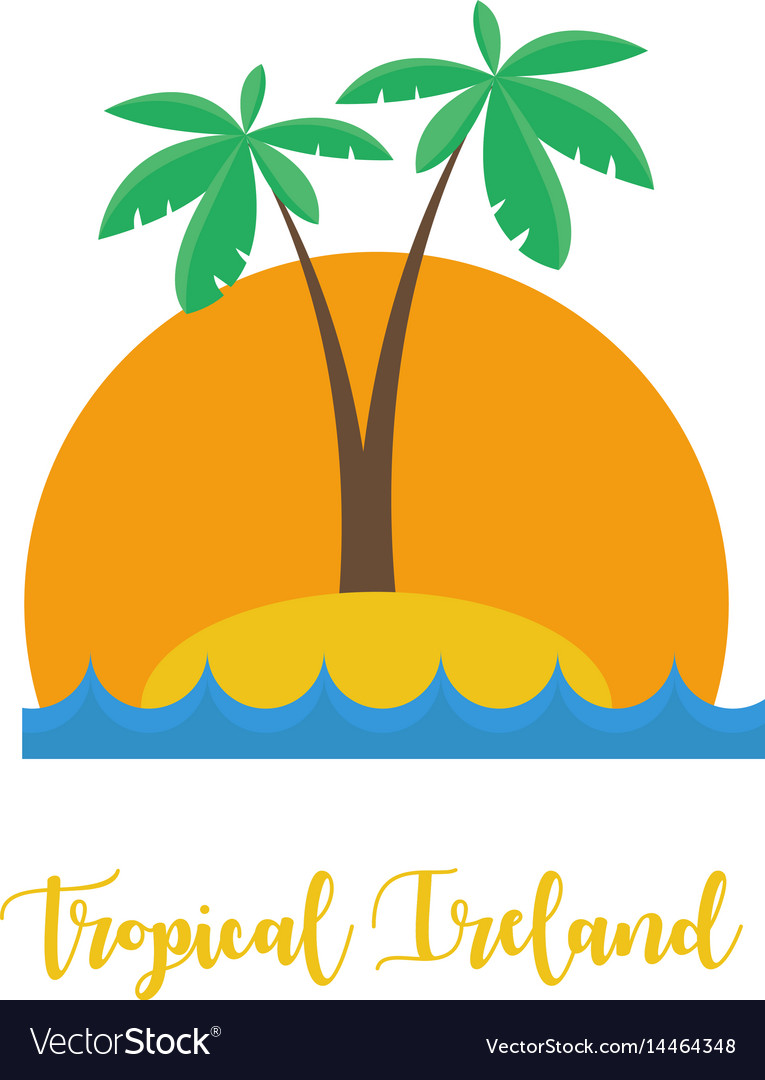 Tropical ireland concept palm beach sunset vector image
