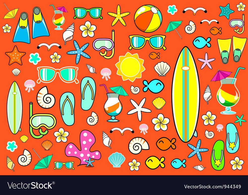 Summer symbols vector image