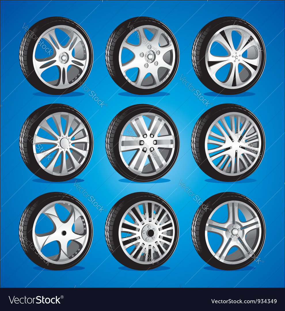 Automotive wheel with alloy wheels and low profile vector image