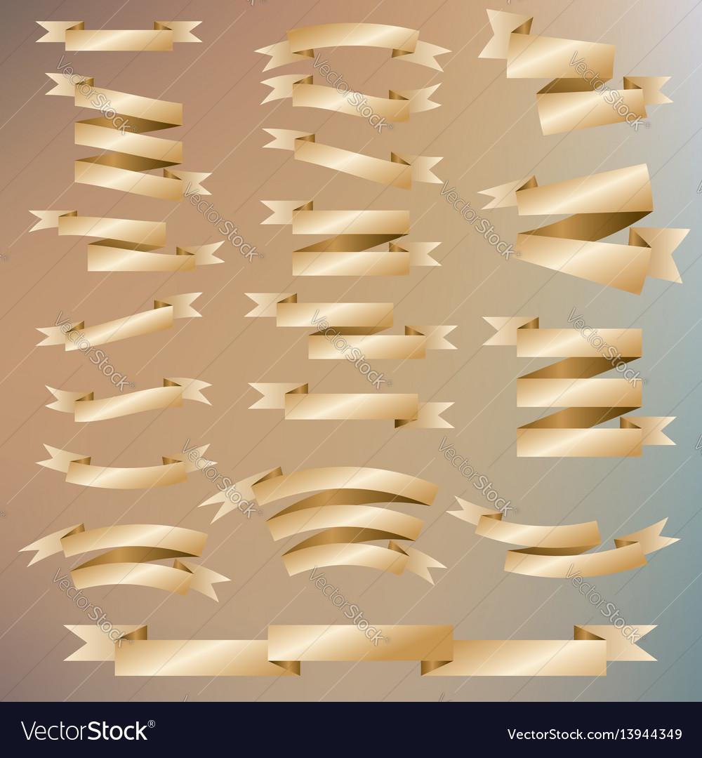 Golden ribbon set vector image