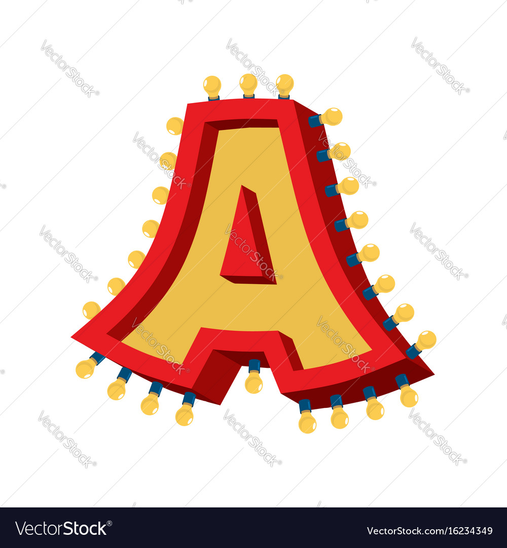 Letter a lamp glowing font vintage light bulb vector image