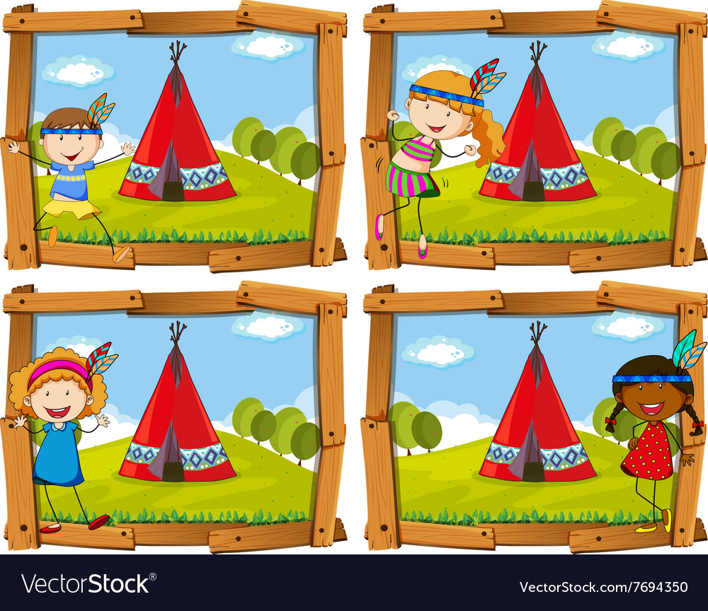 Children in indian costume by teepee vector image
