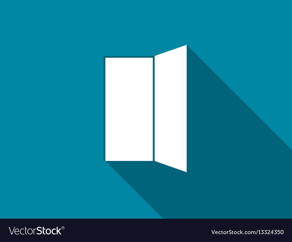 Open door flat icon with long shadow vector image