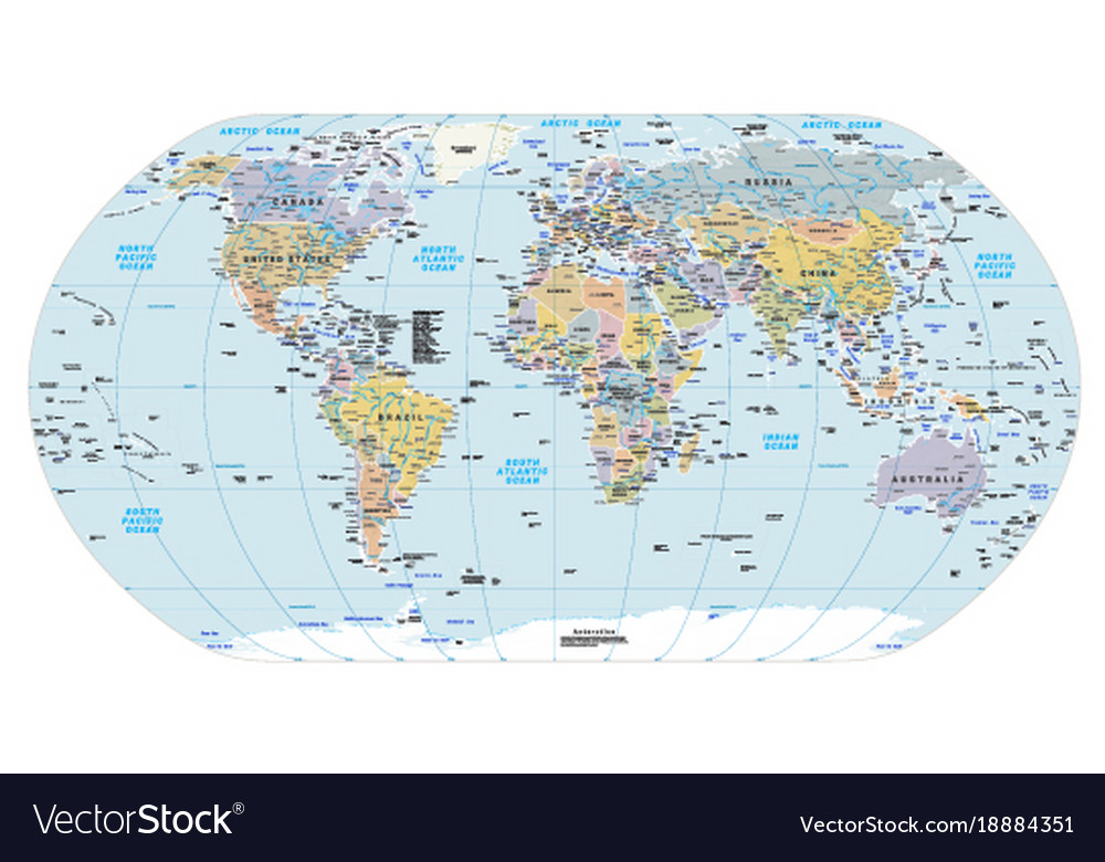 Highly detailed political world map eps 10 vector image gumiabroncs Image collections