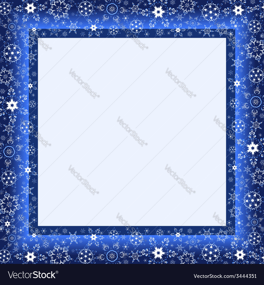 Winter blue frame with snowflake vector image