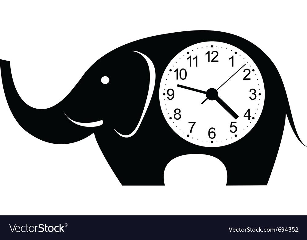 Clock elephant sticker vector image