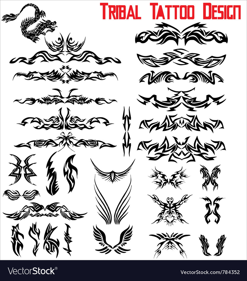 Tribal tattoo design - set vector image
