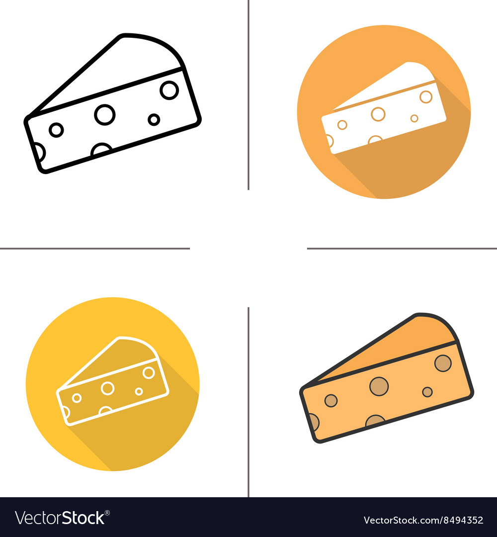 Cheese flat design linear and color icons set vector image