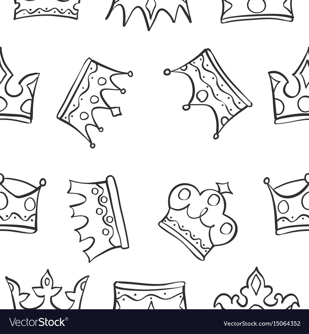 Pattern of king queen crown vector image