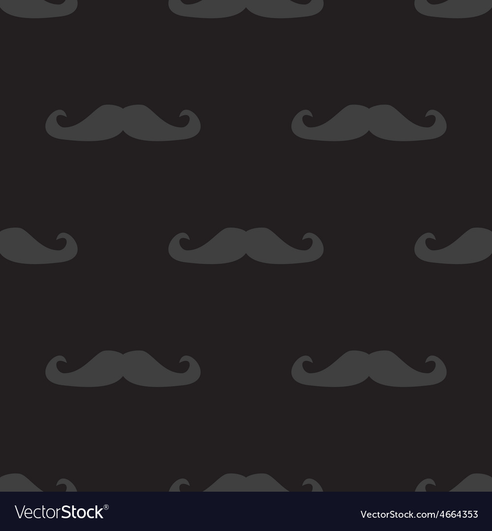 Tile mustache dark pattern on black background vector image