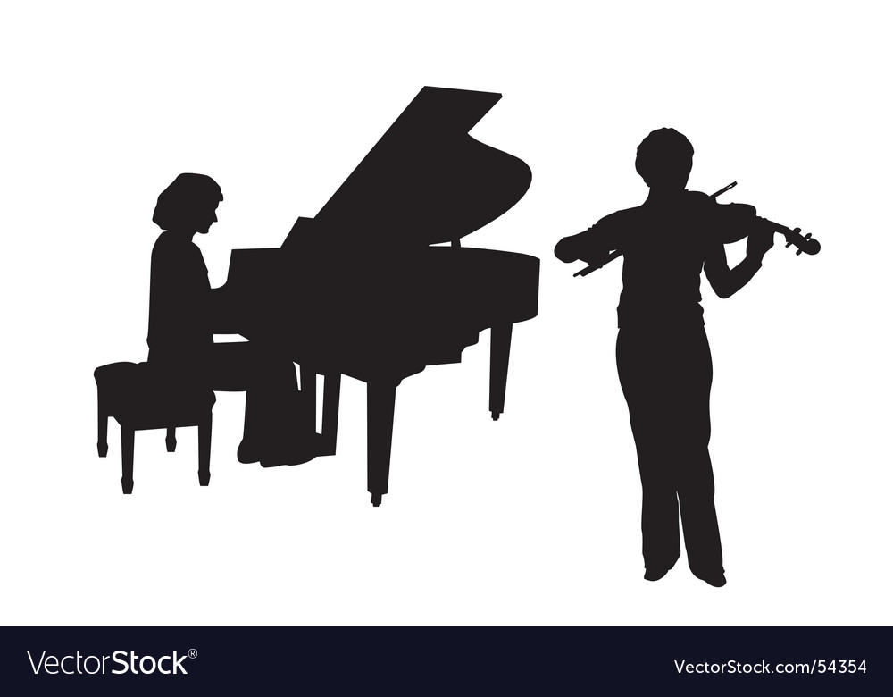 Concerto for piano and violin vector image