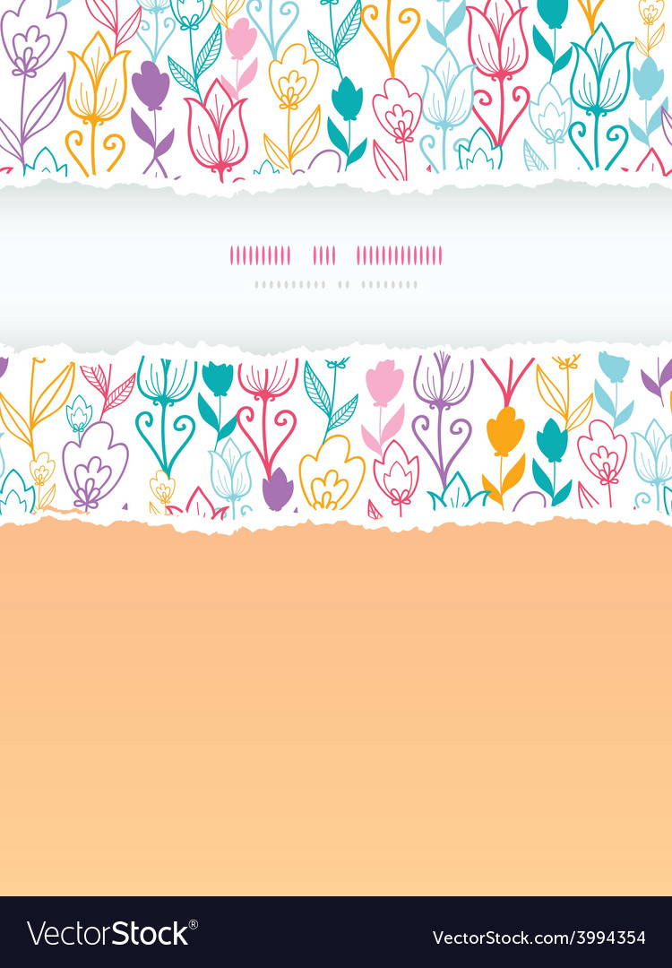 Colorful tulip flowers torn frame vertical vector image