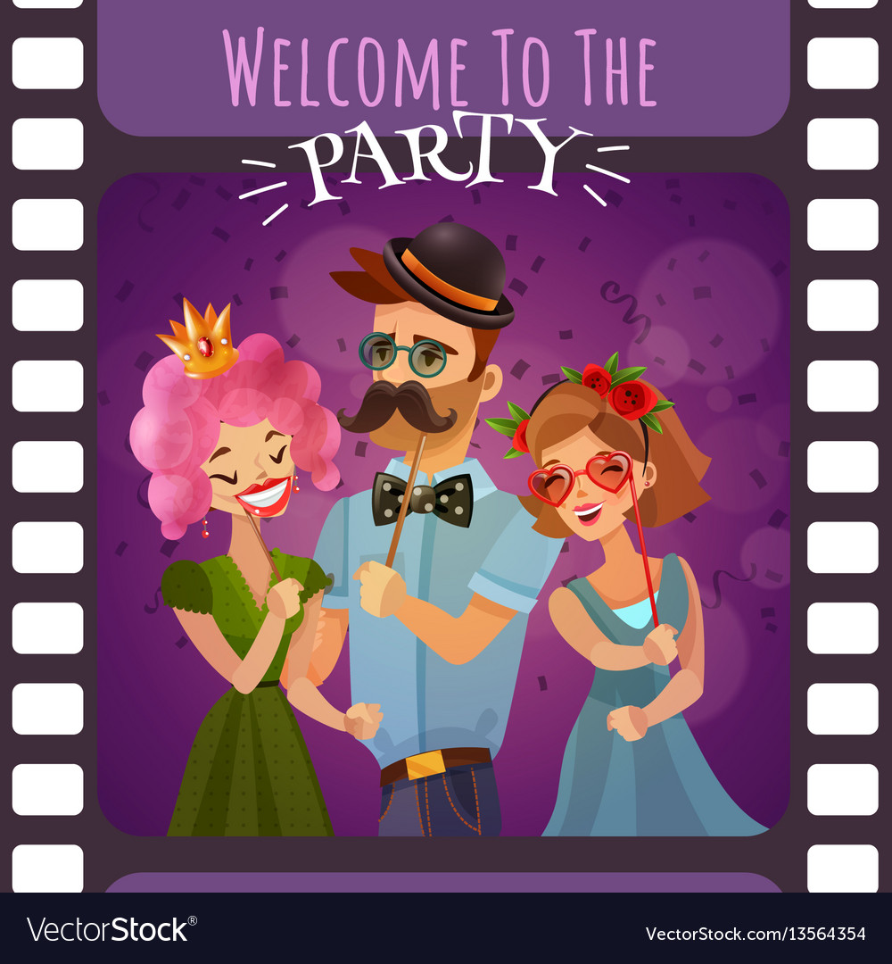 Frame of photographic film with party invitation vector image