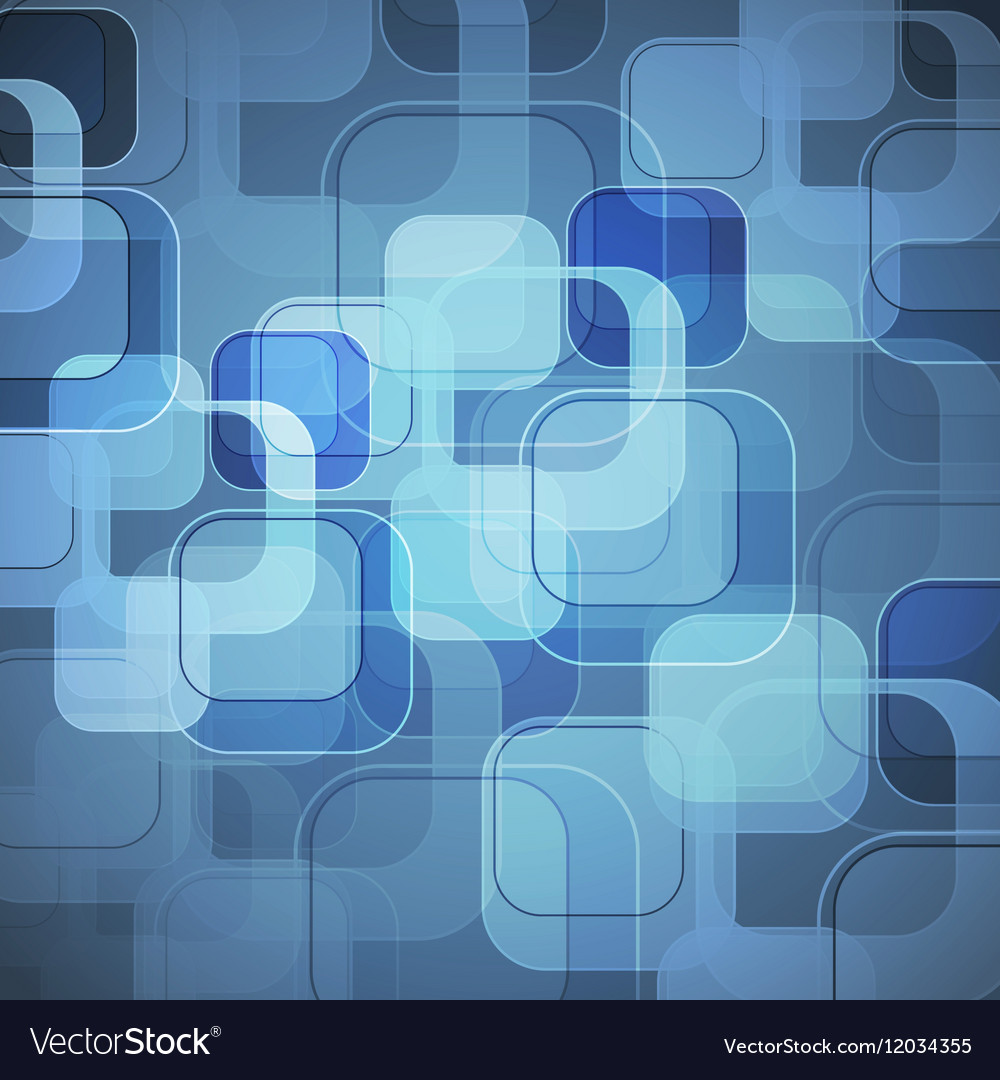 Abstract blue background with round rectangle vector image