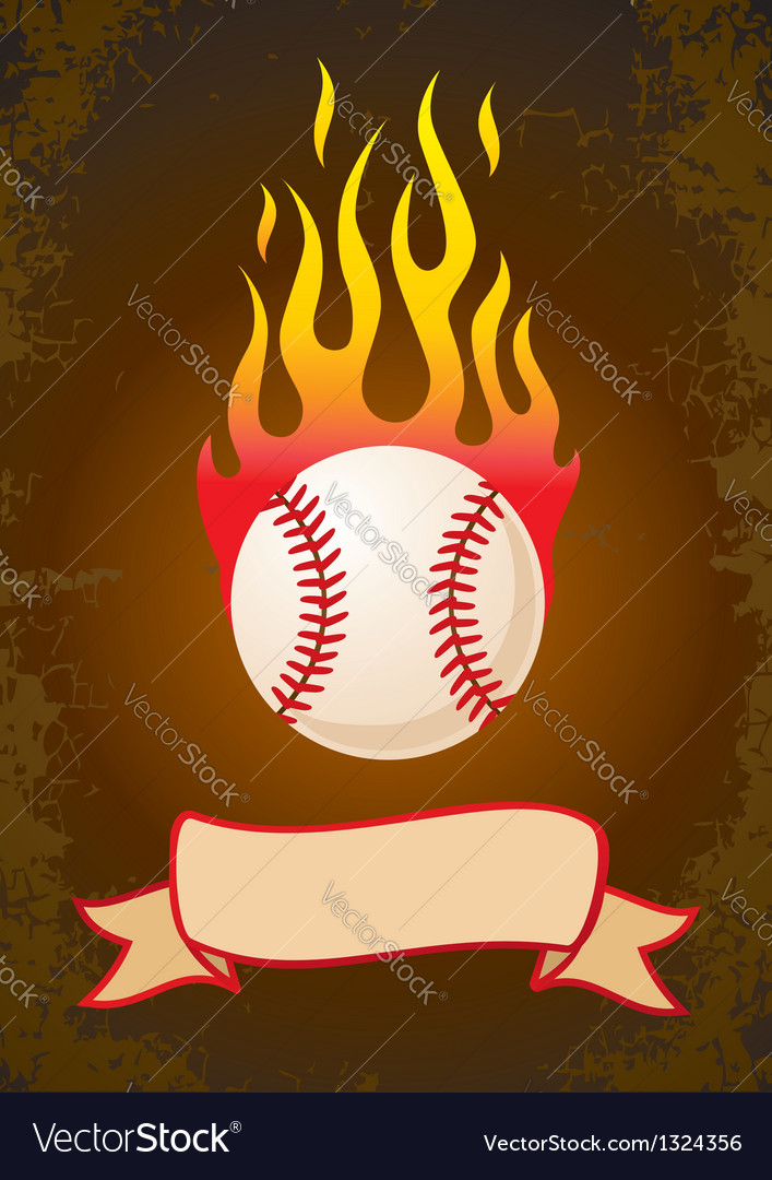 Burning baseball Vector Image