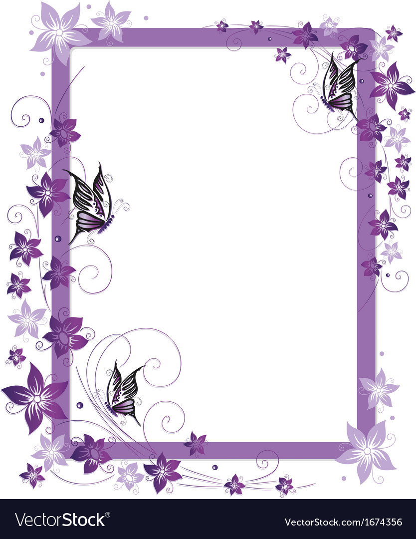 Purple frame flowers vector image