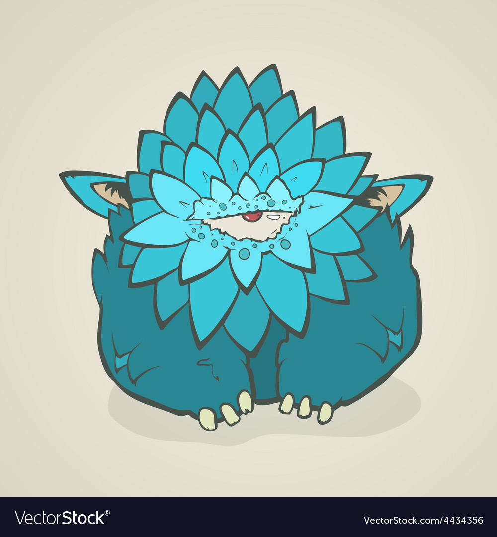 Cartoon blue thick monster with one eye Hand vector image