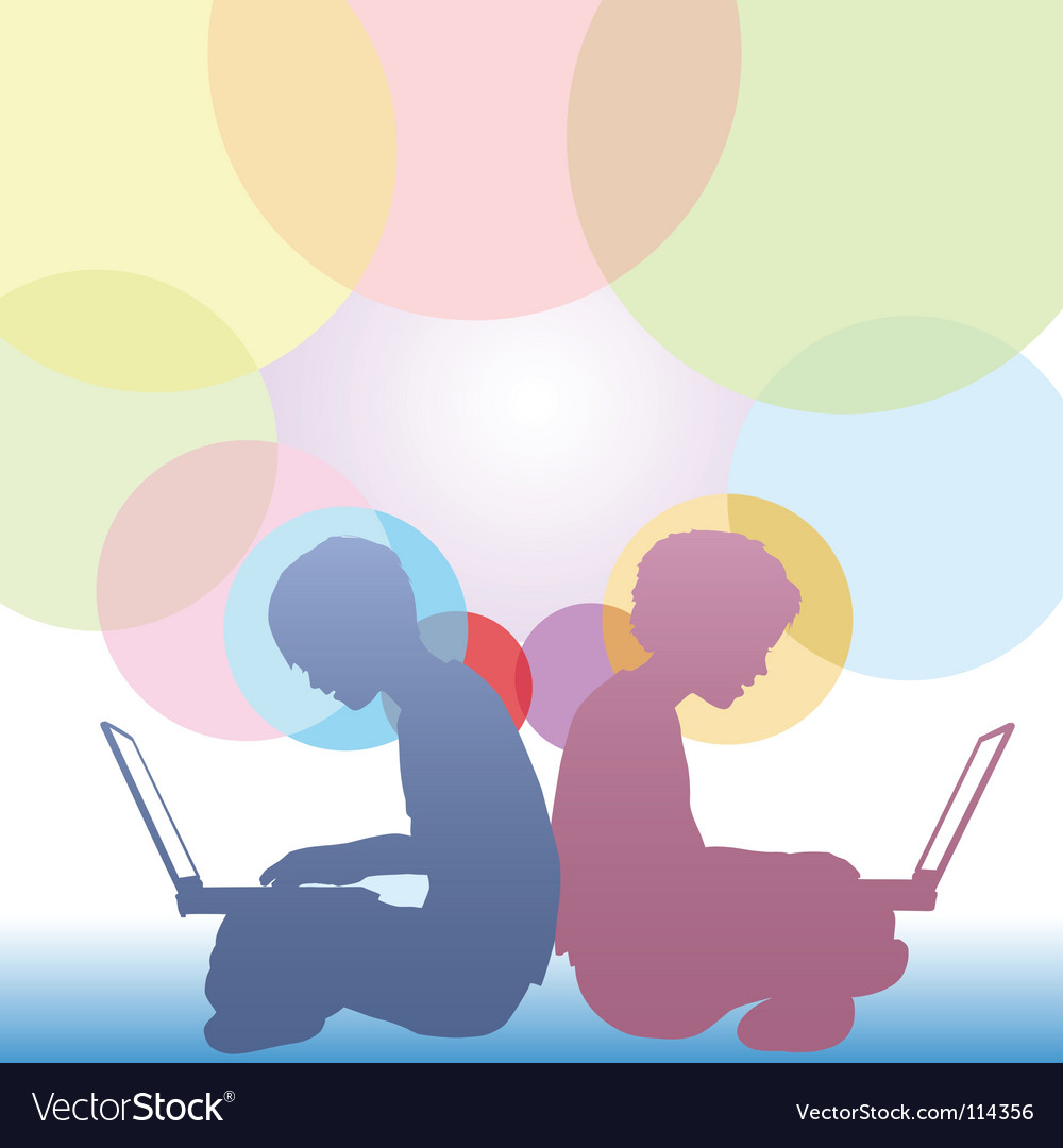 Girl and boy use laptops vector image