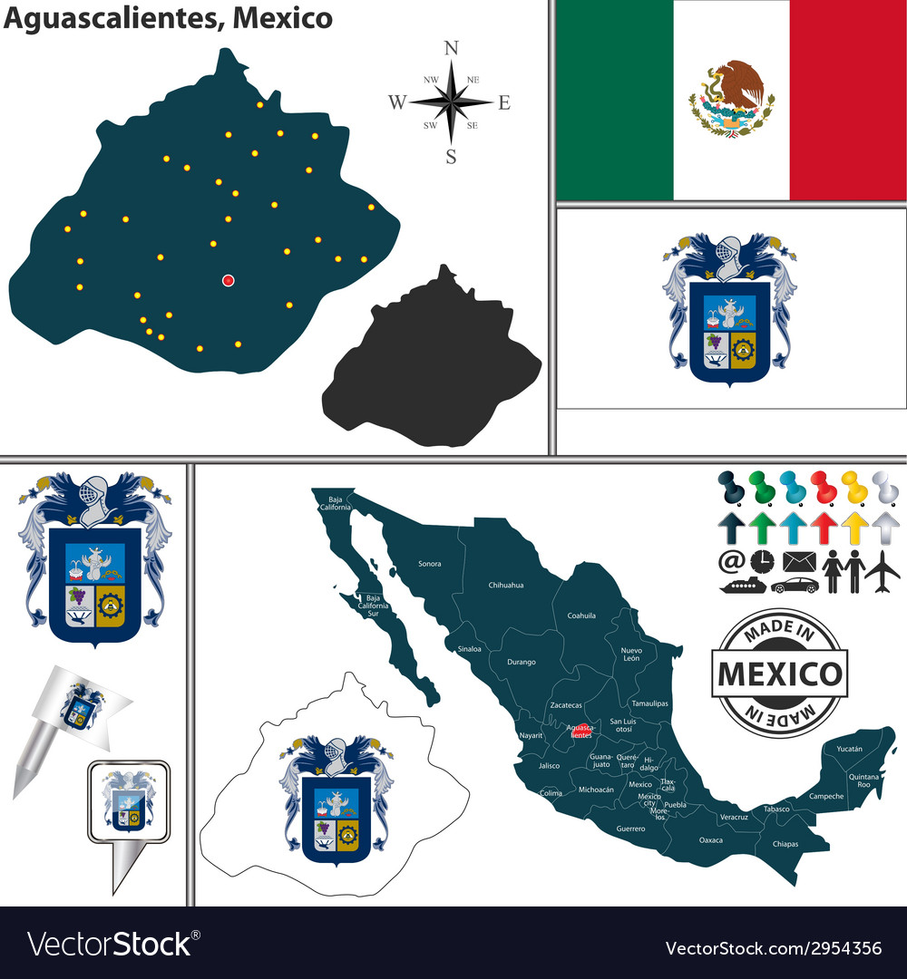 Map of Aguascalientes Royalty Free Vector Image