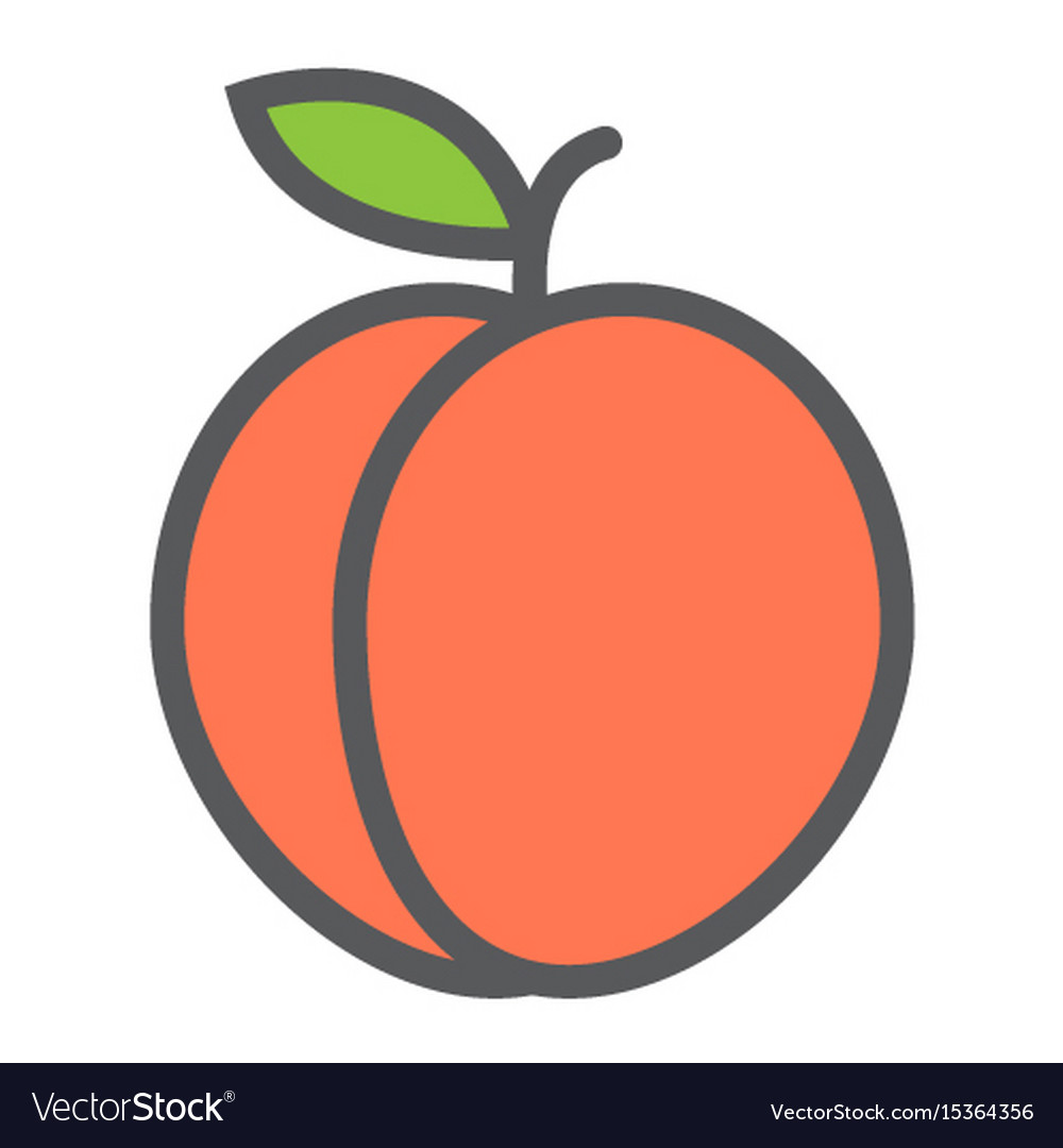 Peach line icon fruit and diet graphic vector image