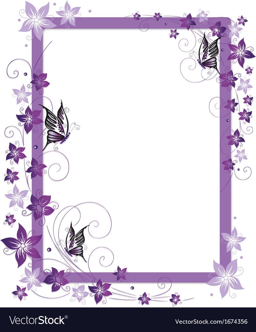 Purple frame flowers vector image