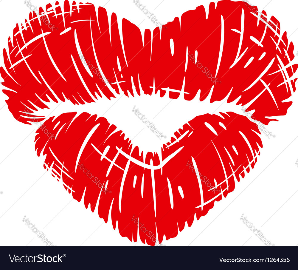 Red lips print in heart shape vector image