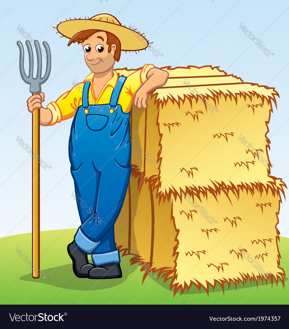 Hay Farmer Tractor Cartoon : Cartoon farmer with pitchfork and hay bails vector image