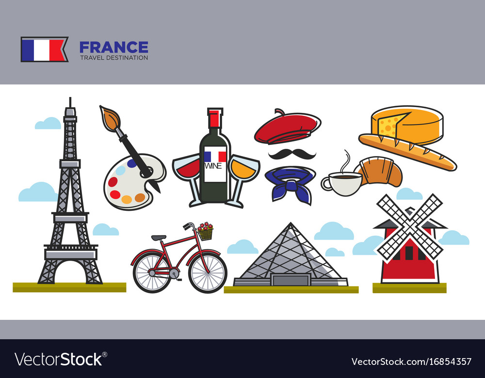 France travel destination banner with national vector image