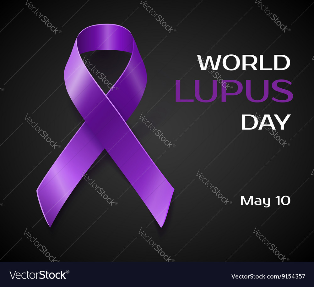 Purple lupus awareness ribbon isolated on black vector image biocorpaavc Image collections